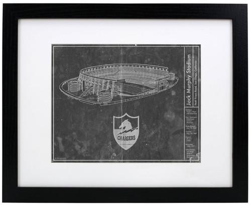 Jack Murphy Stadium - San Diego Chargers Blueprint Poster