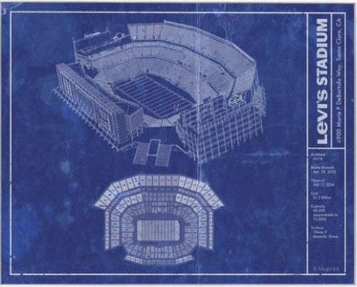 Levi's Stadium - San Francisco 49ers Blueprint Poster