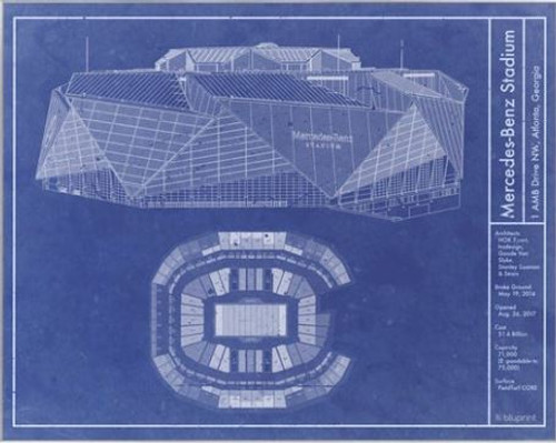 Mercedes-Benz Stadium - Atlanta Falcons Blueprint Poster