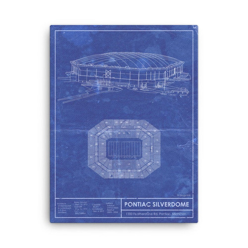 Pontiac Silverdome - Detroit Lions Blueprint Poster