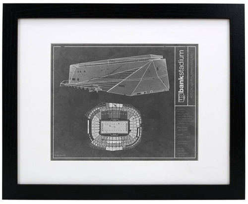US Bank Stadium - Minnesota Vikings Blueprint Poster