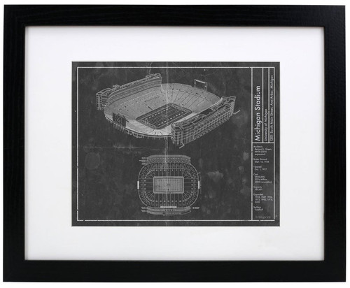 Michigan Stadium - Michigan Wolverines Blueprint Poster