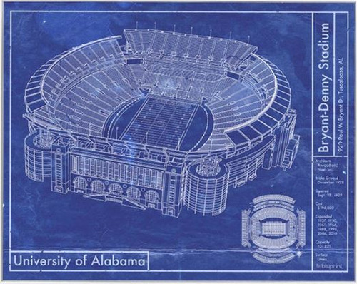 Bryant Denny Stadium - Alabama Crimson Tide Blueprint Poster
