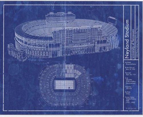 Neyland Stadium - Tennessee Volunteers Blueprint Poster