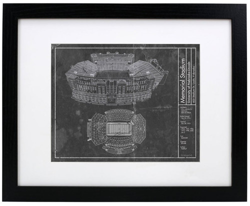 Memorial Stadium - Nebraska Cornhuskers Blueprint Poster