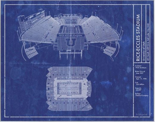 Rice Eccles Stadium - Utah Utes Blueprint Poster