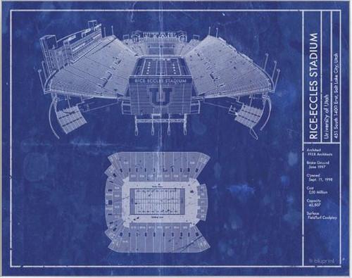 Rice Eccles Stadium - Utah Utes Blueprint Poster