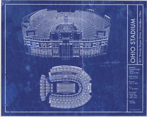 Ohio Stadium - Ohio State Buckeyes Blueprint Poster