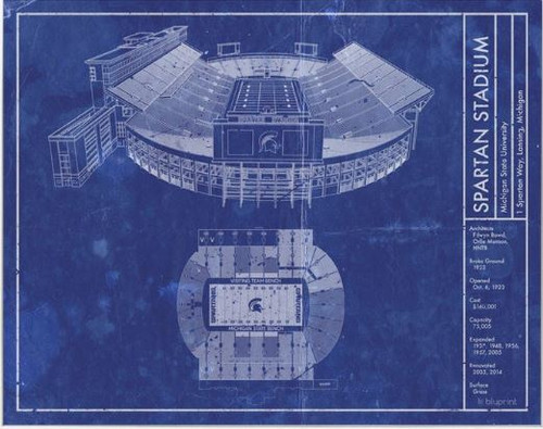 Spartan Stadium - Michigan State Spartans Blueprint Poster