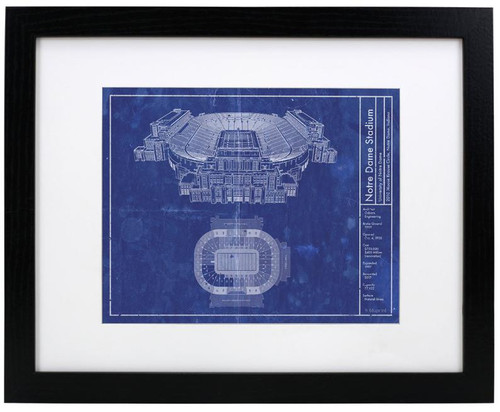 Notre Dame Stadium - Notre Dame Fighting Irish Blueprint Poster