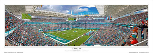 "Miami Dolphins ""17 Yard Line"" Hard Rock Stadium Panoramic Poster"