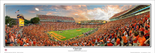 "Clemson Tigers ""8 Yard Line"" Memorial Stadium Panoramic Poster"