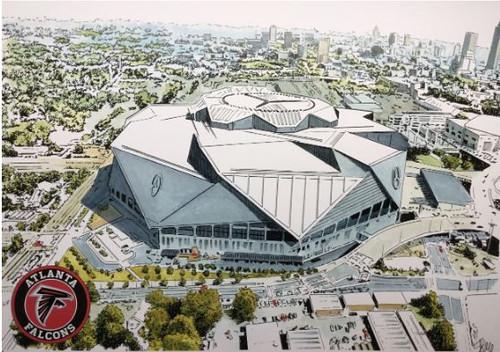 Mercedes-Benz Stadium Aerial - Atlanta Falcons  Art Print