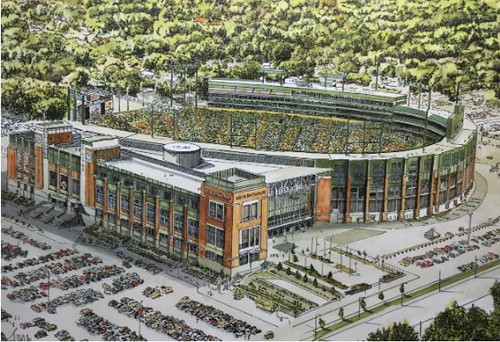 Lambeau Field Aerial - Green Bay Packers  Art Print