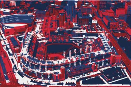 Progressive Field - Cleveland Indians Aerial Canvas Print