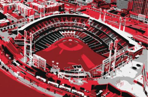 Great American Ball Park - Cincinnati Reds Aerial Canvas Print