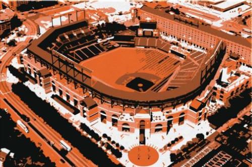 Camden Yards - Baltimore Orioles Aerial Canvas Print