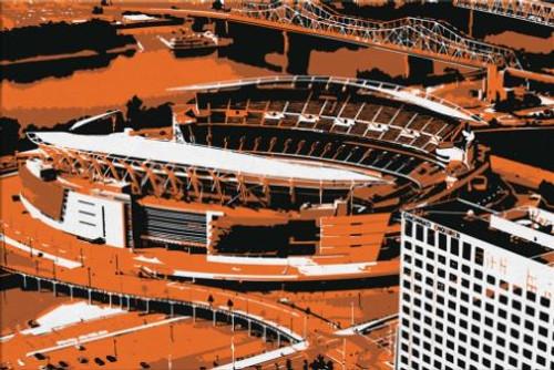 Paul Brown Stadium - Cincinnati Bengals Aerial Canvas Print