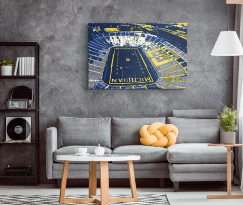 Michigan Stadium - Michigan Wolverines Aerial Canvas Print