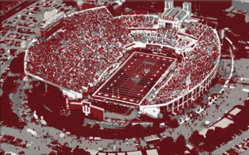 Memorial Stadium - Indiana Hoosiers Aerial Canvas Print
