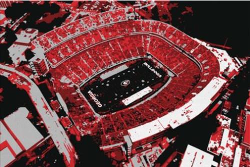 Sanford Stadium - Georgia Bulldogs Aerial Canvas Print