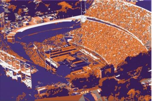 Memorial Stadium - Clemson Tigers Aerial Canvas Print