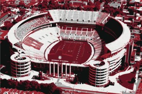 Bryant Denny Stadium - Alabama Crimson Tide Aerial Canvas Print