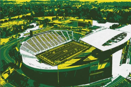 Autzen Stadium - Oregon Ducks Aerial Canvas Print