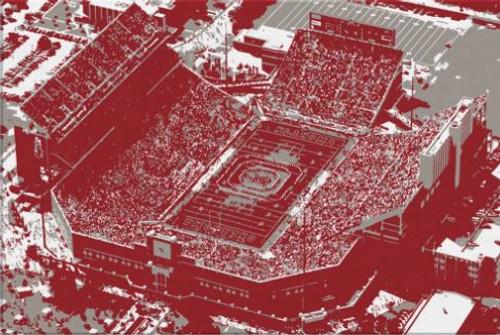 Memorial Stadium - Oklahoma Sooners Aerial Canvas Print