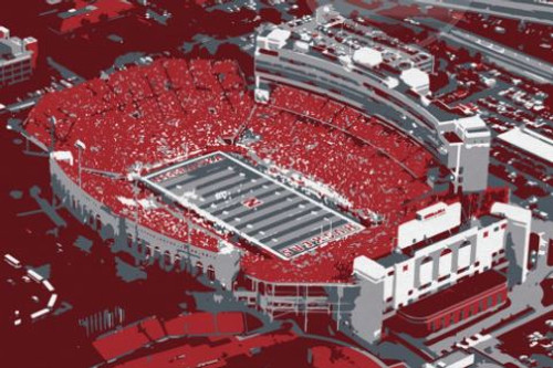 Memorial Stadium - Nebraska Cornhuskers Aerial Canvas Print