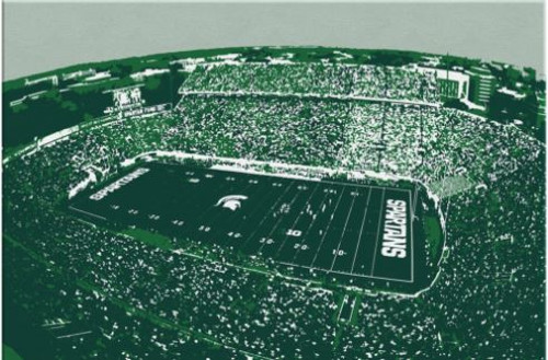 Spartan Stadium - Michigan State Spartans Aerial Canvas Print
