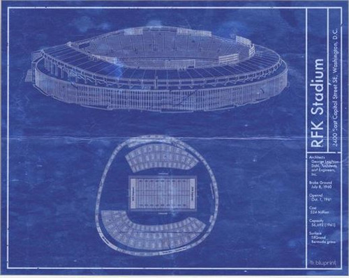 RFK Stadium - Washington Redskins Blueprint Poster