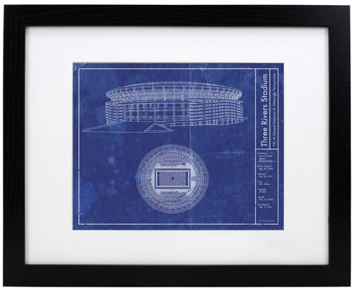 Three Rivers Stadium - Pittsburgh Steelers Blueprint Poster