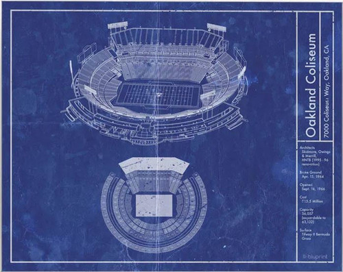 Oakland Coliseum - Oakland Raiders Blueprint Poster