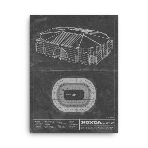 Honda Center - Anaheim Ducks Blueprint Poster