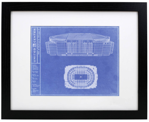 United Center - Chicago Blackhawks Blueprint Poster