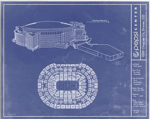 Pepsi Center - Colorado Avalanche Blueprint Poster