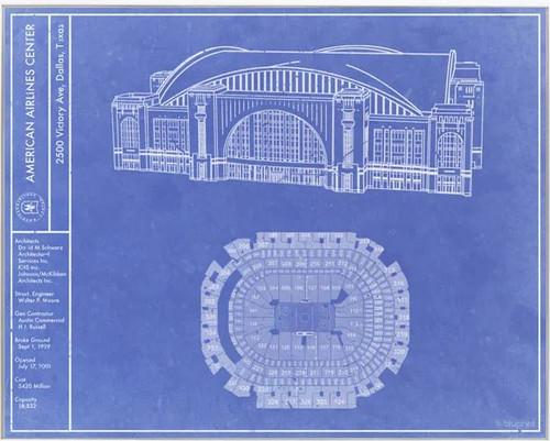 American Airline Arena - Dallas Stars Blueprint Poster