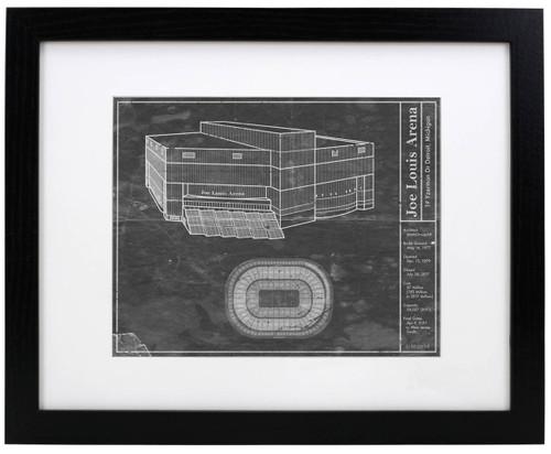 Joe Louis Arena - Detroit Red Wings Blueprint Poster