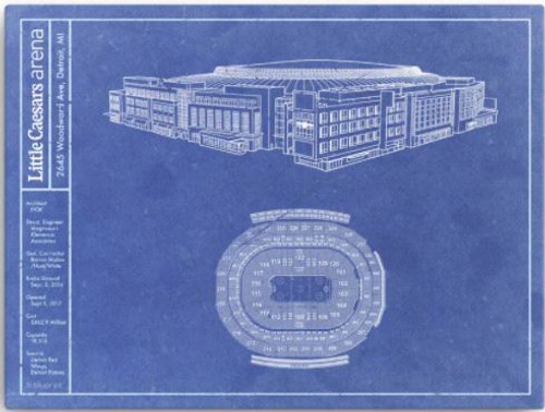 Little Caesars Arena - Detroit Red Wings Blueprint Poster
