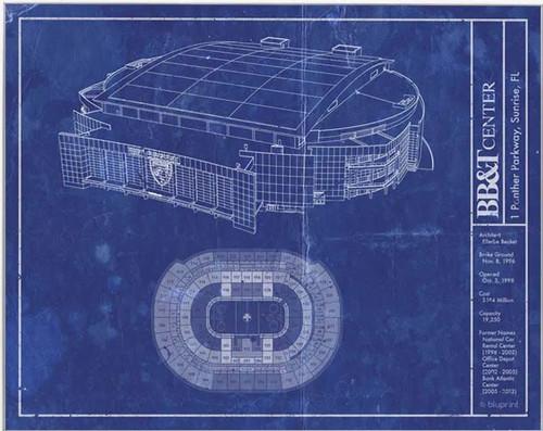 BB&T Center - Florida Panthers Blueprint Poster