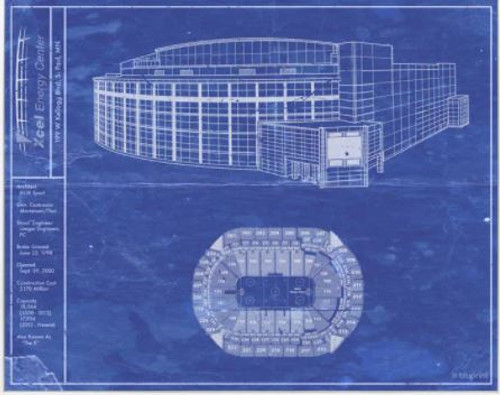 Xcel Energy Center - Minnesota Wild Blueprint Poster