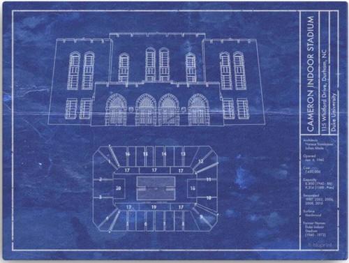 Cameron Indoor Stadium - Duke Blue Devils Blueprint Poster
