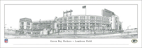Green Bay Packers Lambeau Field Panoramic Line Art Poster