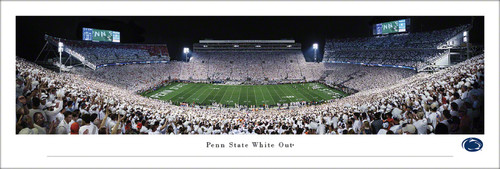 """Penn State Nittany Lions """"2021 White Out"""" at Beaver Stadium Panoramic Poster"""