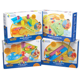 This comprehensive bundle includes four of our finest STEM products including the Force & Motion Activity Set, Simple Machines Activity Set, Magnets! Activity Set, and Sink or Float Activity Set.
