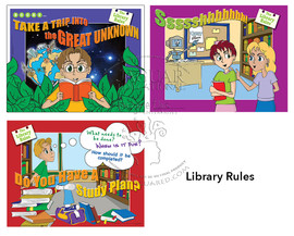 Rules to follow in the Library set of 3 posters