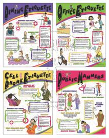 four educational posters about dining etiquette, office etiquette, cell phone etiquette and public manners