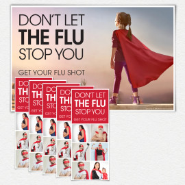 Don't Let the Flu Stop You Girl Superhero Poster and/or Fact Cards
