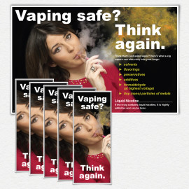 Vaping Safe? Think Again. Woman in Red Poster and/or Fact Cards